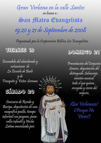 Cartel Verbena de San Mateo organizada por Los Evangelistas Año 2008