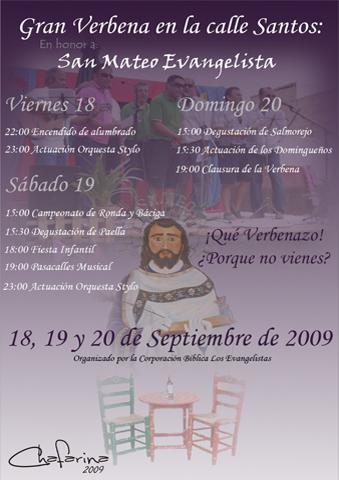 Cartel Verbena de San Mateo organizada por Los Evangelistas An˜o 2009