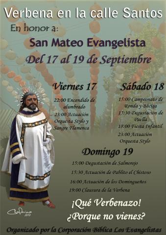 Cartel Verbena de San Mateo organizada por Los Evangelistas An˜o 2010